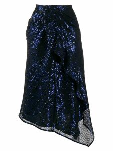 Self-Portrait asymmetric sequin skirt - Blue