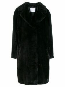 Stand faux fur trench coat - Black