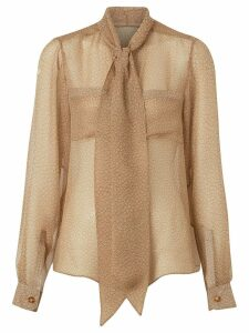 Burberry Fish-scale Print Silk Oversized Pussy-bow Blouse - Neutrals