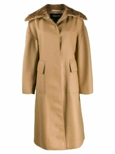 Rochas shearling collar coat - Neutrals