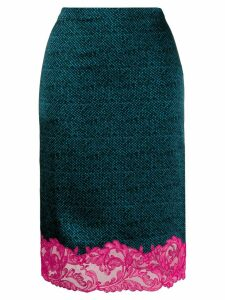 Versace lace hem pencil skirt - Blue