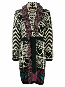 Twin-Set mix pattern fringe coat - Black