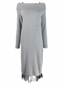 Twin-Set off the shoulder knit and lace dress - Grey
