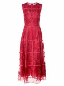 Adam Lippes sheer panel dress - Red