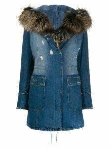 Philipp Plein fur-lined denim coat - Blue