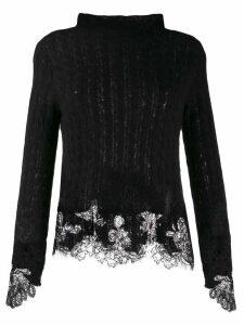 Ermanno Scervino fitted lace detail jumper - Black