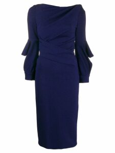 Talbot Runhof wrap-style fitted dress - Blue
