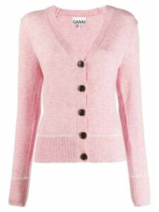 Ganni v-neck fitted cardigan - Pink