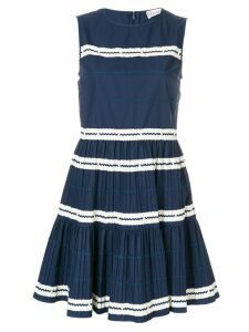 Red Valentino wave stripe pattern dress - Blue