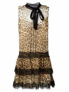 Red Valentino leopard print flared dress - Black