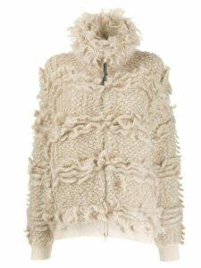 Brunello Cucinelli shaggy knit bomber jacket - Neutrals