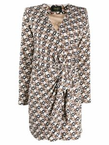 LIU JO logo print wrap dress - Brown