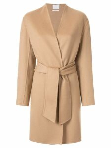 Casasola collarless belted coat - Neutrals