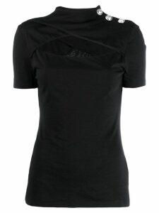 Balmain cut-out mock-neck T-shirt - Black
