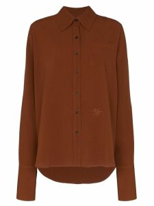 Wales Bonner logo embroidered shirt - Brown