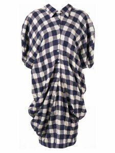 Dawei check print dress - Blue