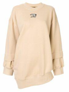 System logo patch deconstructed sweatshirt - Neutrals