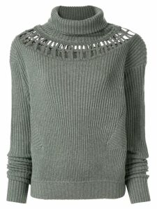 Palmer / Harding cut-out ribbed jumper - Green