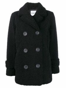 Stand shearling double-breasted coat - Black