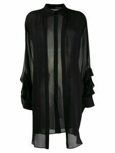 Isabel Benenato longline silk blouse - Black