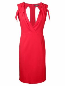 Capucci v-neck fitted dress - Red