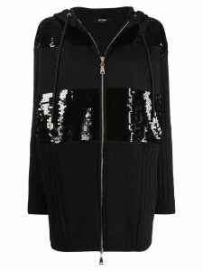 Twin-Set sequin hooded coat - Black