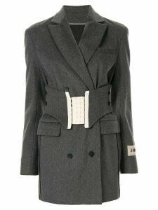 Ruban belted waist blazer - Grey