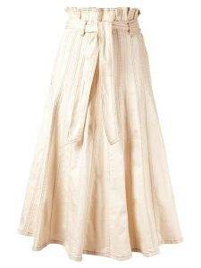 Ulla Johnson Esther contrast stitching skirt - NEUTRALS