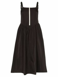 Sandy Liang zip-up front strappy midi dress - Black