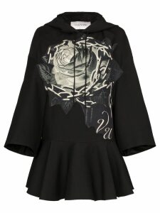 Valentino rose chain print hooded dress - Black