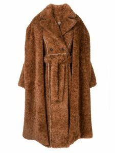 Ruban layered faux-fur coat - Brown