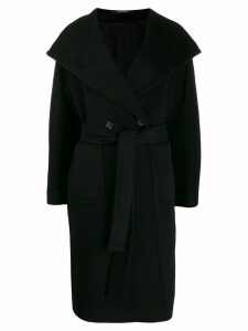 Tagliatore double breasted wrap coat - Black