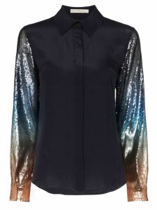 Mary Katrantzou Shane sequin-sleeve blouse - Blue