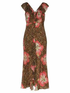 Rixo Antoinette animal floral print midi dress - Brown