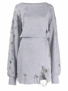 Faith Connexion distressed sweatshirt dress - Grey