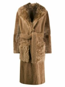 Yves Salomon belted shearling coat - Brown
