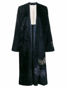 Forte Forte embroidered kaftan coat - Blue