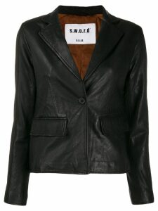 S.W.O.R.D 6.6.44 single breasted leather blazer - Black
