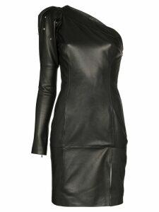 Skiim Jimmy one-shoulder leather mini dress - Black