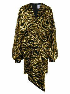 Halpern sequinned tulle draped dress - Yellow