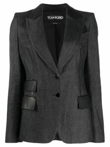 Tom Ford leather detail structured blazer - Black