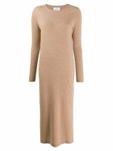 Allude long sleeved knitted dress - Neutrals