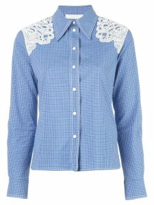 Chloé checked lace detail shirt - Blue