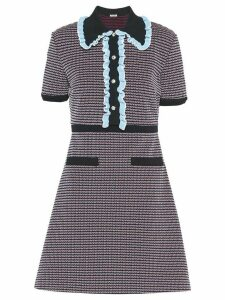 Miu Miu ruffle trims tweed dress - Blue