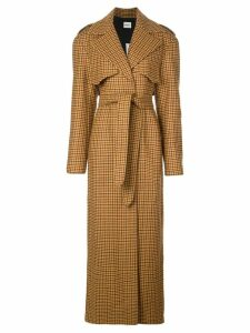 Khaite long gingham trench coat - Brown