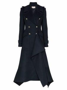 Alexander McQueen asymmetric hem coat - Blue
