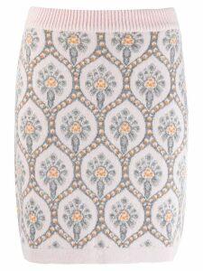Blumarine floral knit skirt - Silver