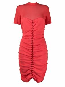 Unravel Project lace-up midi dress - Red