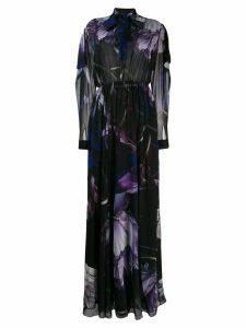 Roberto Cavalli Marchito print flared long dress - Black