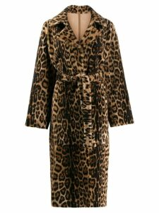 Yves Salomon leopard print coat - Brown